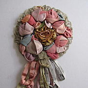 C. 1920's Silk Ribbon Work Round Appliqué with Streamers