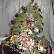 SOLD Victorian Silk Thread Floral Basket on Wood Base-Pansies, Other Flowers