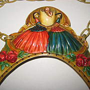 SALE PENDING French 1920's Celluloid Purse Frame w/Baby in Egg, Roses, Ladies-Dbl Sided