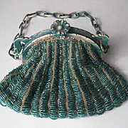 1920's Green Glass Beaded Purse with Celluloid Frame-Original Lining w/French Ribbon Work