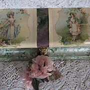 SOLD Victorian Celluloid Box w/Winged Cherubs, Young Ladies-Brundage Signatures