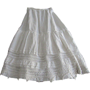 "Antique Long White Linen Petticoat Skirt w/Crochet Lace-27 1/2"" Waist"