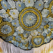1920's Matyo French Blue & Yellow Round Table Cover w/Fringe