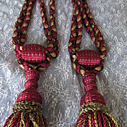 C. 1900's Pair of French Drapery Curtain Tie Backs w/Braided Silky Tassels-Claret Red, Goldish