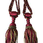 C. 1900's Pair of French Drapery Curtain Tie Backs w/Braided Silky Tassels-Claret ...
