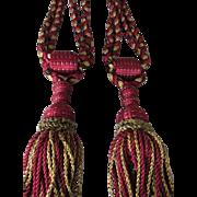 C. 1900's Pair of French Drapery Curtain Tie Backs w/Braided Silky Tassels-Claret ...