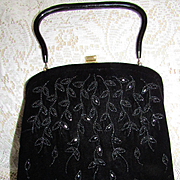 Vintage Soure' 50's Black Velvet & Jet Beaded Purse Bag-Cascading Leaves Design