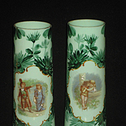 Pair of Antique Green Milk Glass Vase's w/Brundage Children
