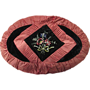 1930's French Rose Color Satin & Velvet Pillow w/Hand Embroidery
