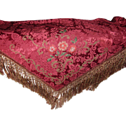 Antique French Damask Table Cover with Metallic Trim, Silky Flowers & Heavy Hand Knotted Fring