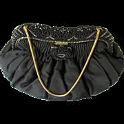 Vintage Black Silk Satin K & G Charlet Purse w/Beaded Frame-Never Used