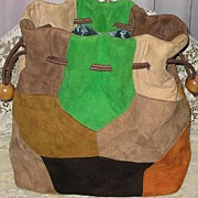 Vintage 1960's Multi-Color Patchwork Suede Drawstring Purse-Never Used
