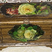 SALE Victorian Celluloid Manicure Box w/Catherine Klein Inspired Yellow & Red Roses
