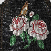 SALE Vintage Dbl Sided Hand Beaded Purse w/ROSES, BIRD, FRINGE