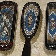 SALE Antique 3 Piece Tortoiseshell & Beadwork Brush Set w/Mother of Pearl Detail