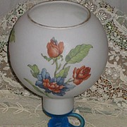 Vintage Cellini, Italy Satin Glass Vase/Candleholder w/Floral Detail