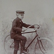 SOLD Antique Cabinet Card of Young Telegram Delivery Boy in Uniform with Large Bicycle