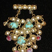 SOLD Vintage Faux Pearl & Marbleized Turquoise Dangle Brooch