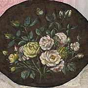 SOLD Antique ROSES Oil Painting on Black Satin w/Cardboard Back-Paris Apt. Chic - Red Tag Sale