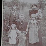 SALE PENDING Antique Victorian Cabinet Card of Family w/Four Children in a Field