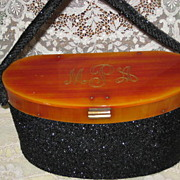 SALE Vintage Black Beaded Box Purse w/Bakelite Top, Frame w/Initials
