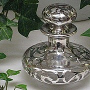 SALE Antique Sterling Silver Overlay Perfume Bottle-Signed & #'d