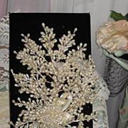 SALE C. 1930's Wax Wedding Bouquet with Three Spun Glass Flowers