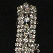 SALE Exceptional Vintage 5 Row Prong Set Rhinestone Bracelet w/Safety Catch