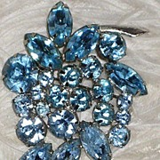 Vintage Blue Rhinestone Signed WEISS Brooch