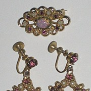 Vintage Brooch/Earring Set-Faux Pearls, Amethyst Color Glass Stones & Opalescent Glass Bea
