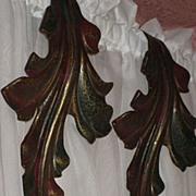 SALE Pair of Vintage Metal Curtain Drape Tie Backs in Curved Leaf Design