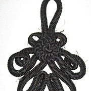 Large Antique Victorian Black Corded Appliqué