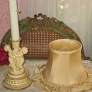 SALE Vintage Ecru Boudoir Lamp with Two Cherubs & Original Silk Shade-1 of 2