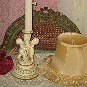 SALE Vintage Cream Color Boudoir Lamp with Two Cherubs & Original Silk Shade-2 of 2