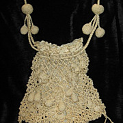 SOLD Large Antique Victorian Hand Crocheted Drawstring Purse w/Crocheted Roses & 17 Tassels