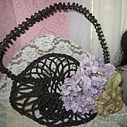 SALE Antique French Black Beaded Mourning Funeral Basket w/Huge Beaded Handle