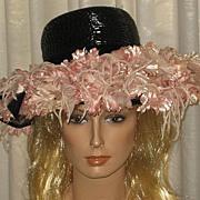 SALE Stunning & Huge 1940's Black Wide Brimmed Hat w/Tons of Pink Fabric Flowers-H.C. Prange