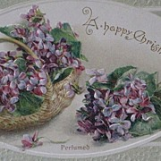 "Dated Antique 1912 ""A Happy Christmas"" Perfumed Post Card w/Embossed Violets"