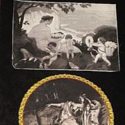 2 Piece Antique 1890's Prints; Cherubs, Lady Print & Lady Print with Plastic Cover