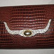 Vintage Brown Ann Turk Faux Alligator Leather Shoulder Bag Purse with Silver Metal & Gold