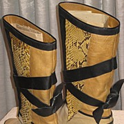 Vintage Pollini, Italy Python & Leather Boots with Leather Ties-Size 6 ½ A or AA ...