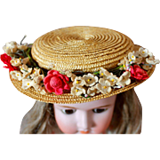 Charming Vintage Straw Hat for Doll