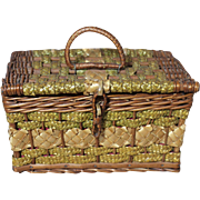 SALE PENDING Lovely Wicker and Wood Antique Basket for Mignonette