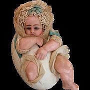 SALE PENDING Incredible Wax Baby in Paper Mache Egg