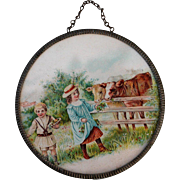 SALE PENDING Antique Round Framed Miniature Picture
