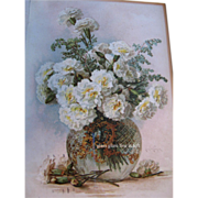 SOLD French Carnations Paul de Longpre c1890s Print Card Chromolithograph Flower Floral