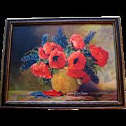 SOLD Poppies Delphiniums Print Max Streckenbach Original Frame Vintage Flower