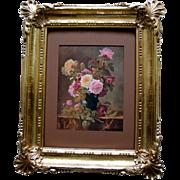 SOLD c1909 Roses Print Paul de Longpre Vintage Syroco Frame Flower Floral Cabbage Rose