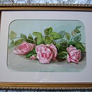 c1896 Pink Cabbage Roses The Three Bridesmaids Chromolithograph Half Yard Long Print J Bullis