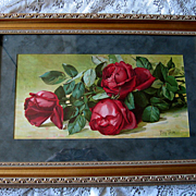 c1893 Roses Print Patty Thum Half Yard Long Jacqueminot Roses Chromolithograph Gold Frame